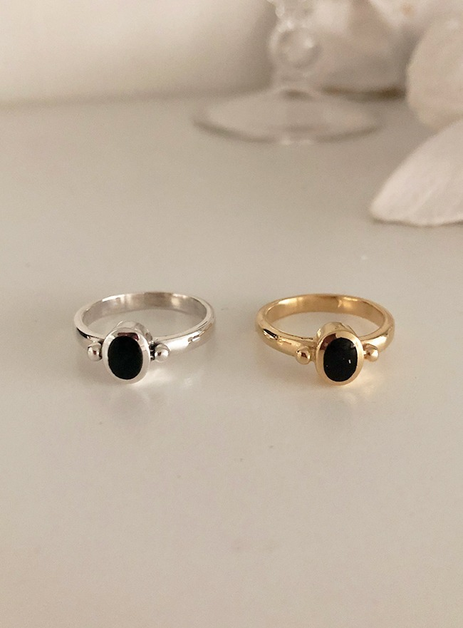 (Silver 925 & 18k Gold plating) onyx ring (오닉스, 5 sizes)