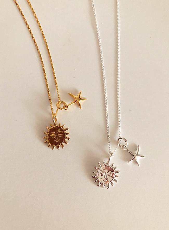 (Silver 925 & 18k Gold plating) sunshine necklace
