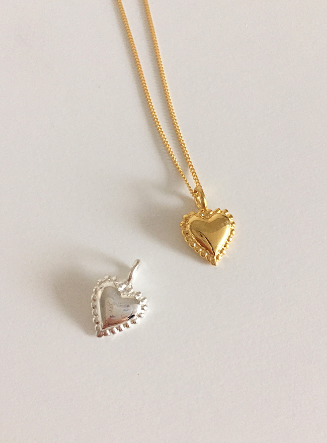 [주문폭주/3차 재입고] (Silver 925 & 18k Gold plating) soft heart necklace