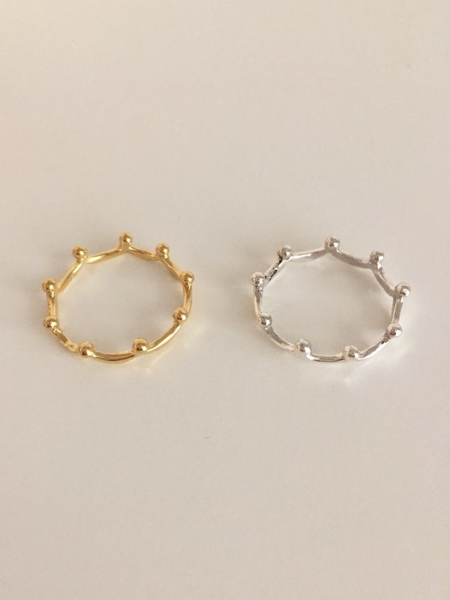(Silver 925 & 18k Gold plating) tiara ring (5 sizes)