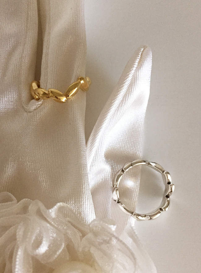 (Silver 925 & 18k Gold plating) laurel ring (4 sizes)