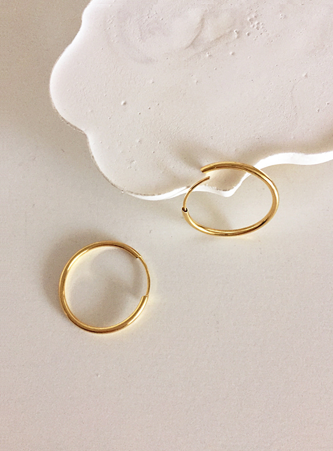 (Silcer 925) pipe earring (gold)