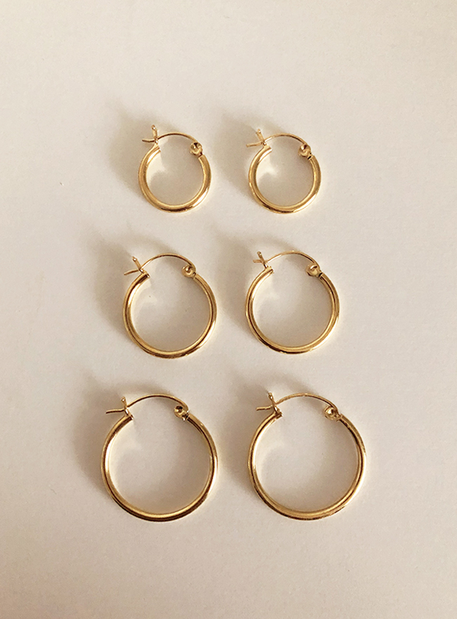 (Silver 925 & 18k Gold plating) daily ring earring (3 sizes)
