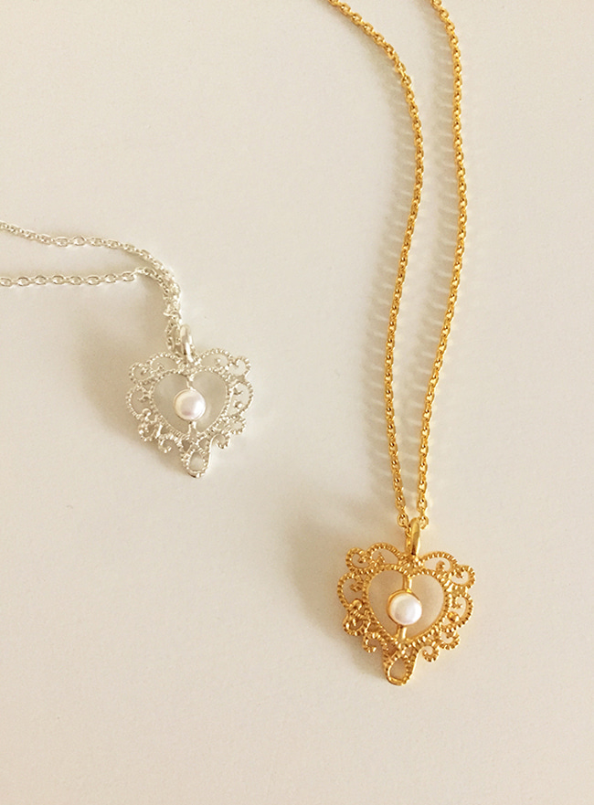 (Silver 925 & 18k Gold plating) sweet heart necklace