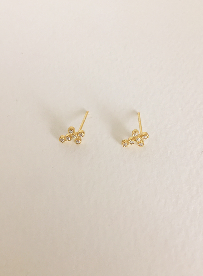 (Silver 925) mini cubic cross earring (2 colors)