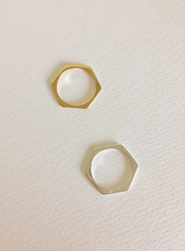 (Silver 925 & 16k Gold plating) flat ring (3 sizes)