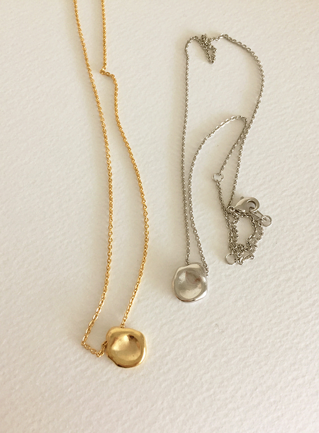 (신주 & 24k Gold plating) waterdrop necklace (2 colors) (Allergy free)