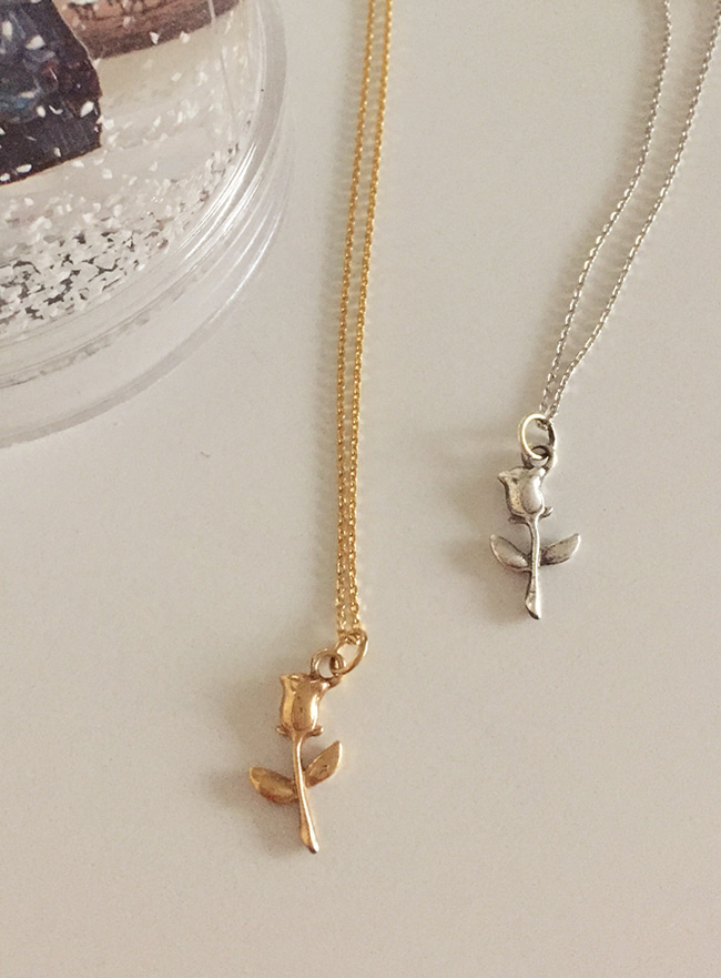 [2차 재입고] (Silver 925 & 18k Gold plating) tulip necklace