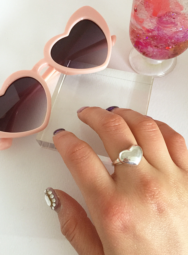(Silver 925) bold heart ring (5 sizes)