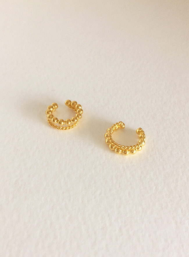 (Silver 925 & 18k Gold plating) bread ear cuff (이어커프 귀찌)