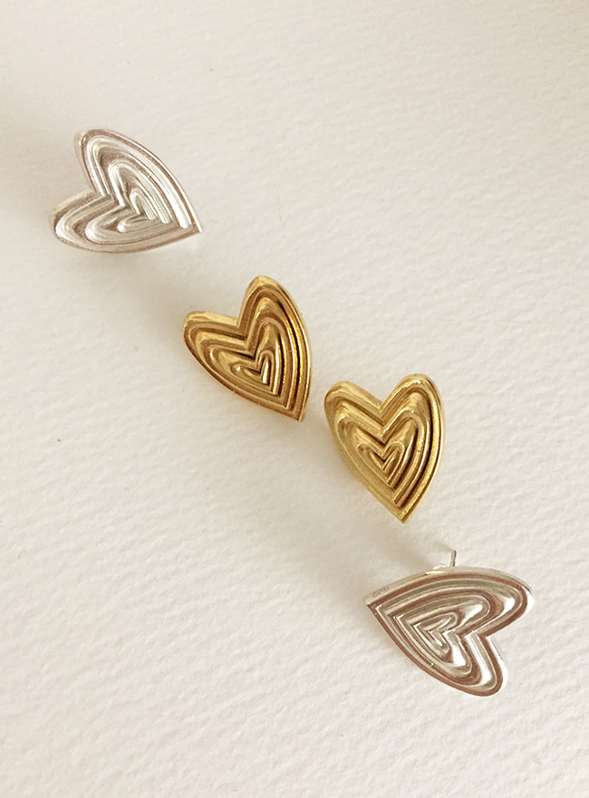 (Silver 925 & 16k Gold plating) heart and heart earring