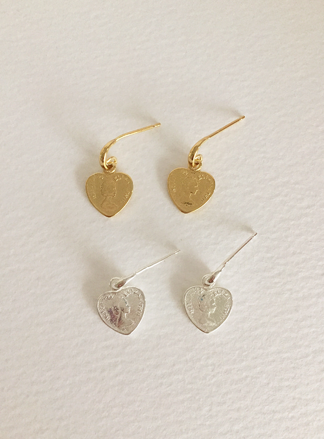 (Silver 925 & 18k Gold plating) mini heart earring