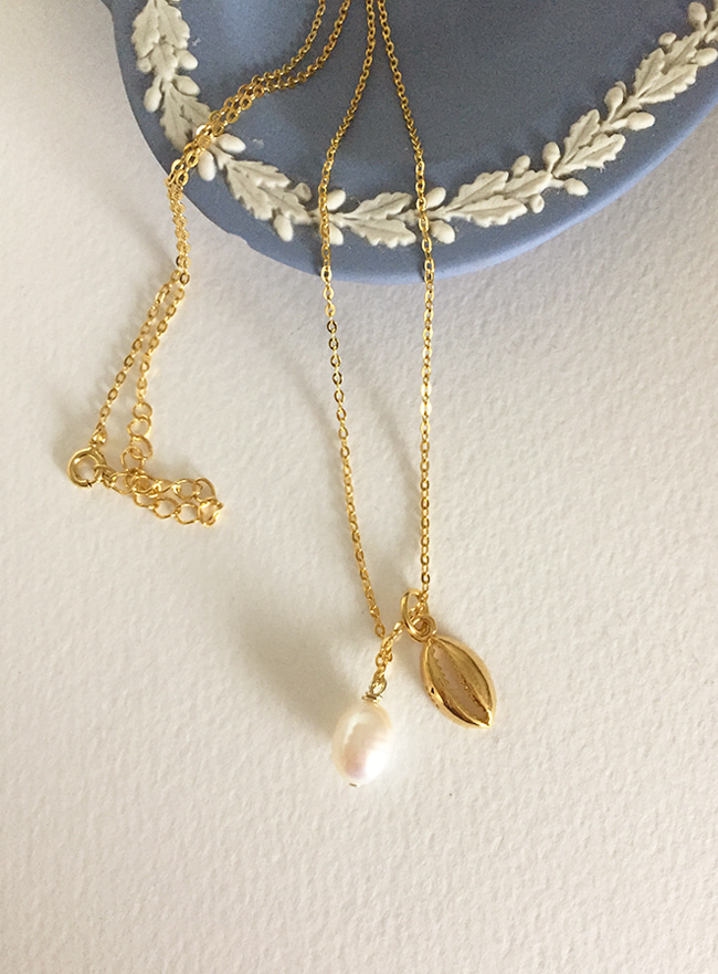 (Silver 925 + 16k Gold plating) summer pearl necklace (담수진주)