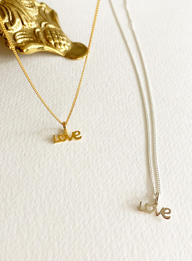 (Silver 925 & 18k Gold plating) love initial necklace (2 sizes)