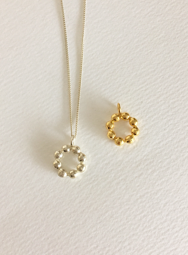 (Silver 925 & 18k Gold plating) mini donut necklace