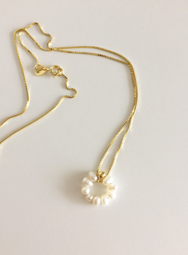 (Silver 925 + 16k Gold plating) pearl flower necklace