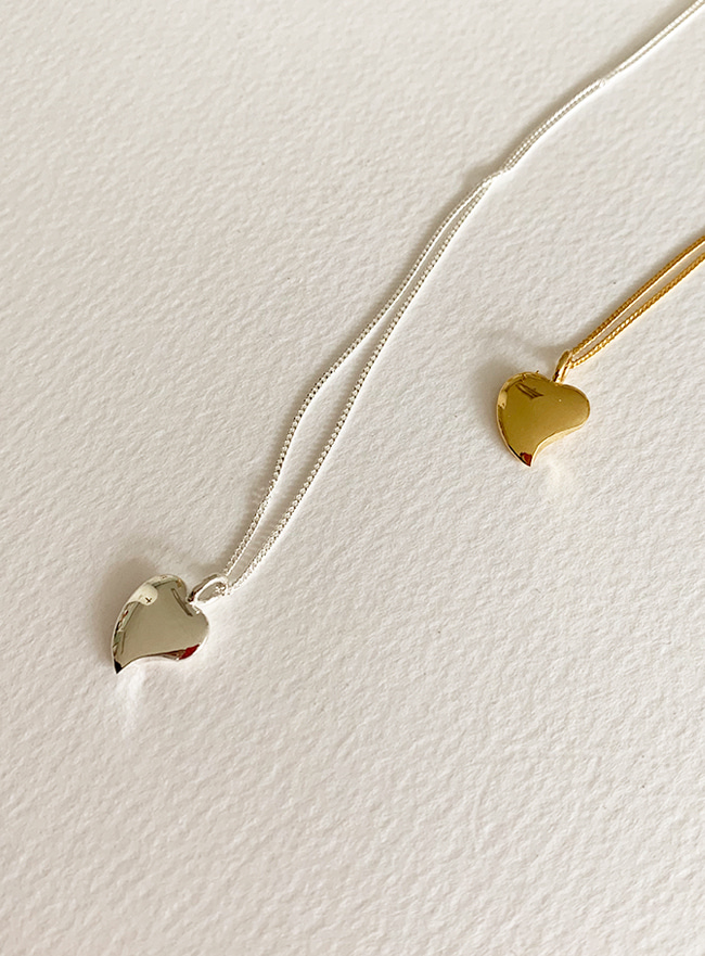 (Silver 925 & 18k Gold plating) heart moon necklace