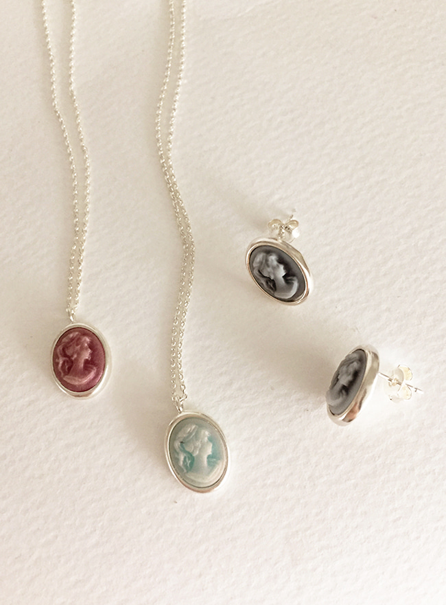 (Silver 925) cameo necklace (3 colors)