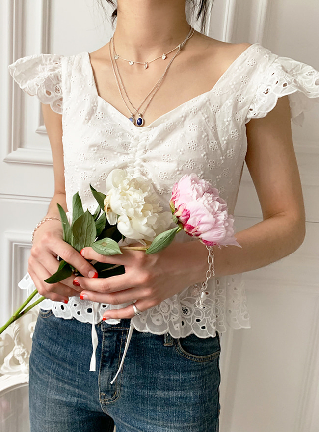 [배송 공지 필독] ღDEEP SUMMERღ blooming lace top