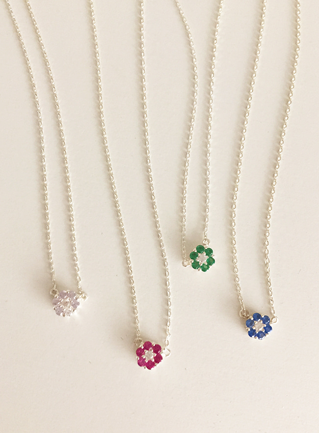 (Silver 925) petit cubic flower necklace (4 colors)