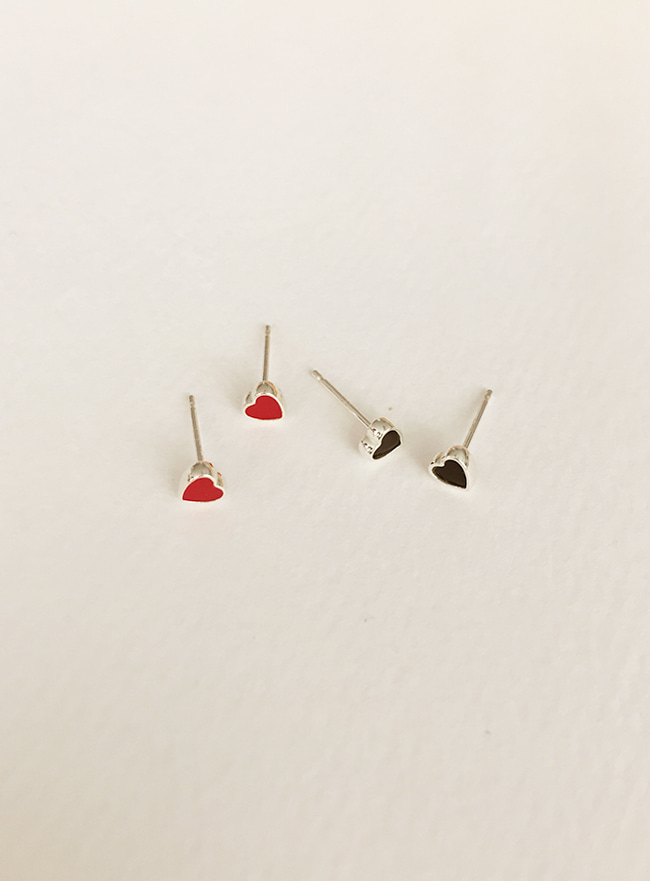 (Silver 925) colored heart earring (2 colors)