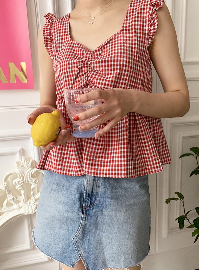 ღDEEP SUMMERღ lovely check top (3 colors)