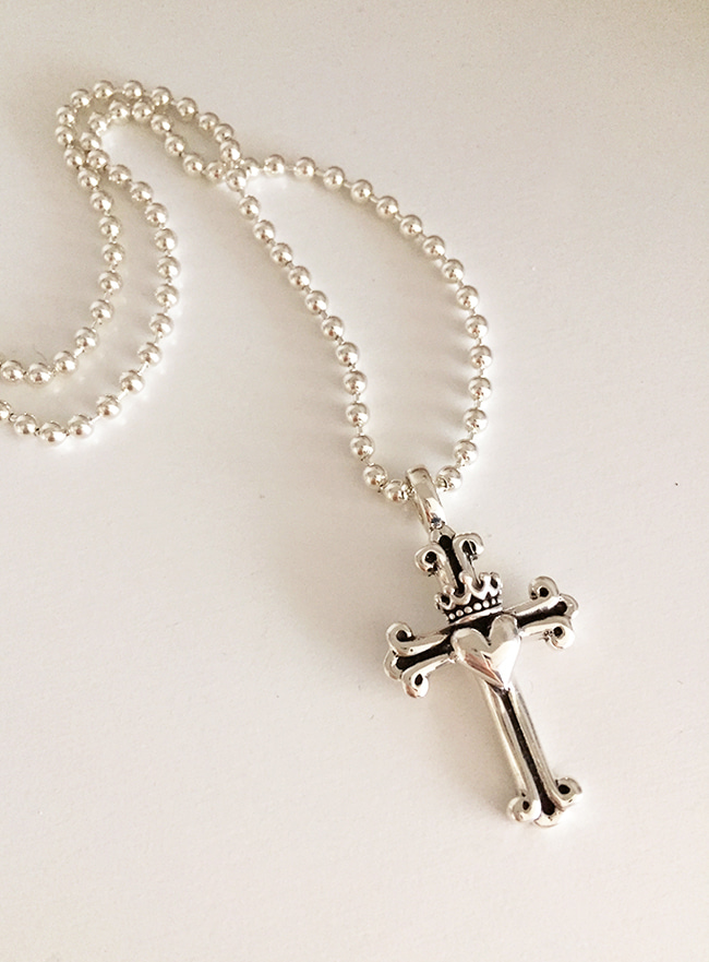 (Silver 925 & 18k Gold plating) cross and love necklace