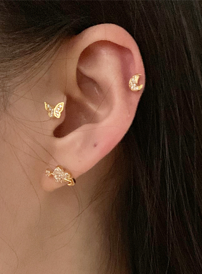 (써지컬 스틸) butterfly piercing (2 colors)
