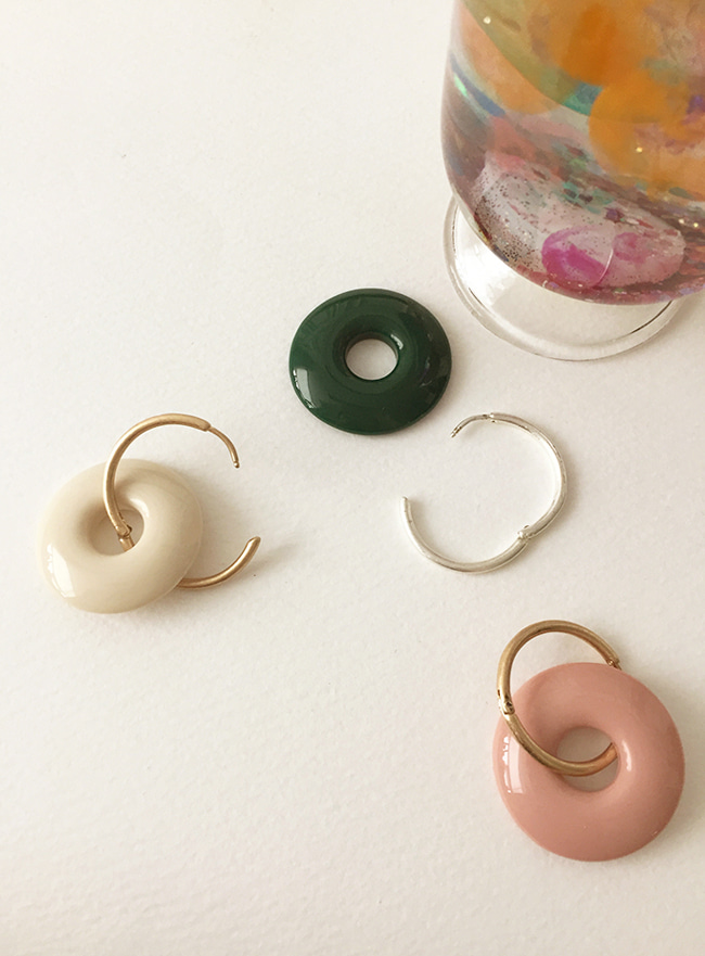 creamy earring (3 colors) (Allergy free)
