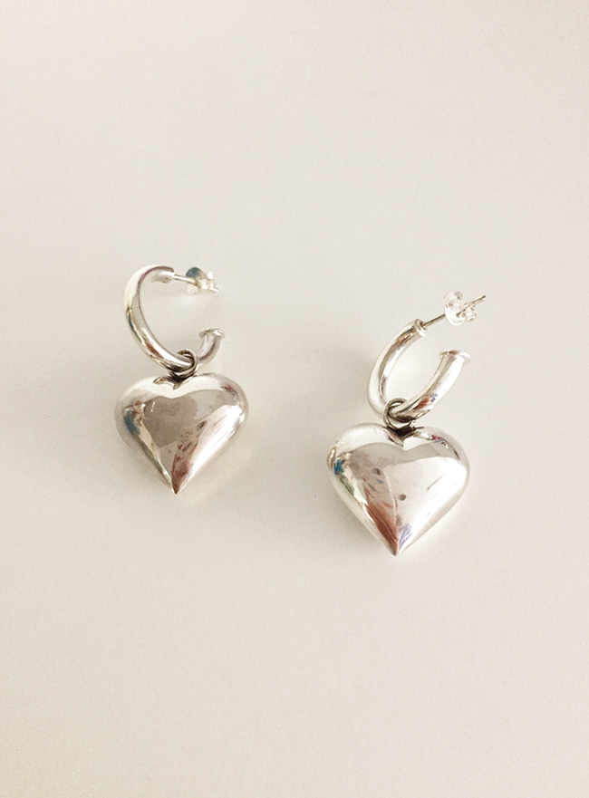 (Silver 925 & 16k Gold plating) real heart earring