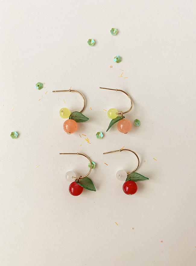 cherry fruit earring (2 colors) (Allergy free)