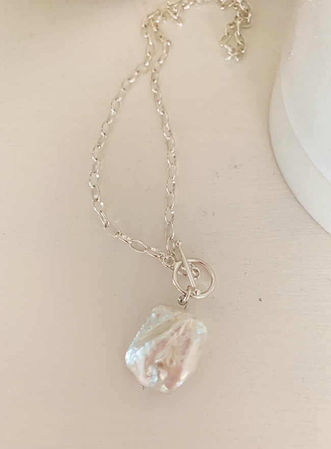 (Silver 925) nacreous chain necklace (바로크진주)