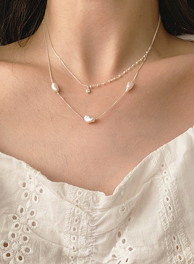 (Silver 925) three natural pearls necklace
