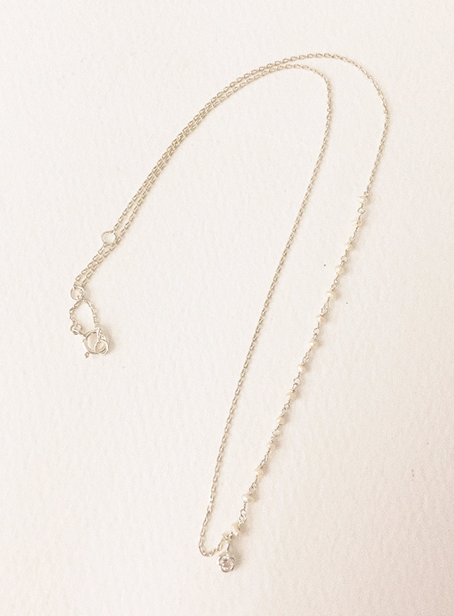 (Silver 925) tiny pearl cubic necklace