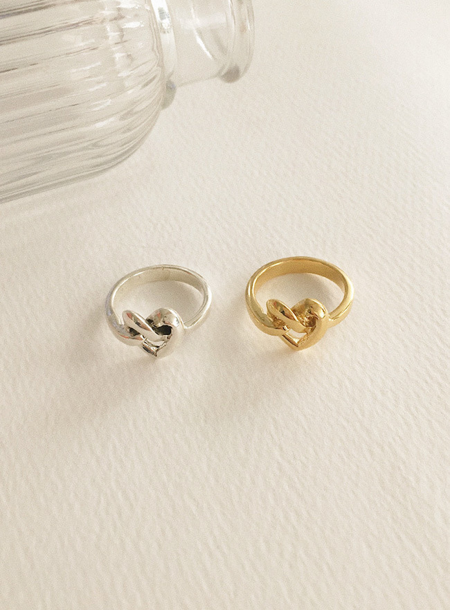 (Silver 925 & 18k Gold plating) heart tie ring (5 sizes) (2 colors)