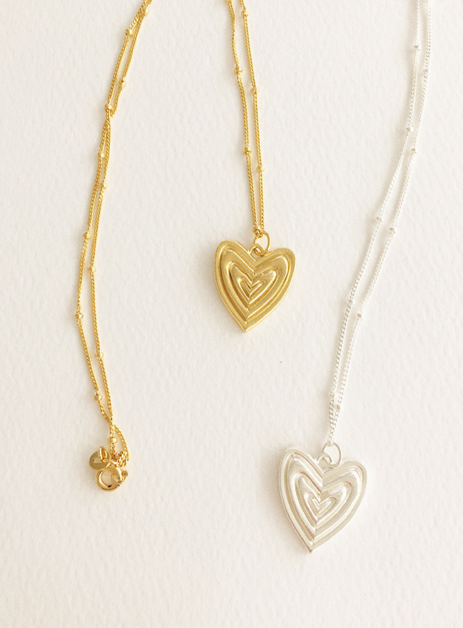 (Silver 925 & 16k Gold plating) in layers heart necklace (2 colors)
