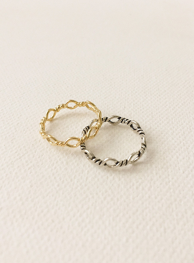 (Silver 925) twist dot ring (5 sizes)