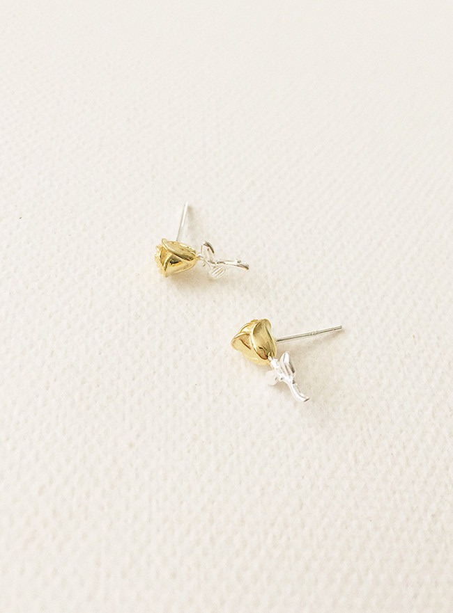 (Silver 925 & 18k Gold plating) mix rose earring