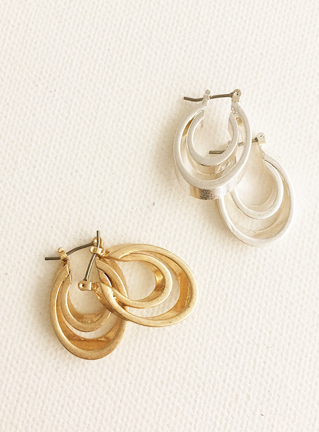 two elliptical earring (2 colors) (Allergy free)