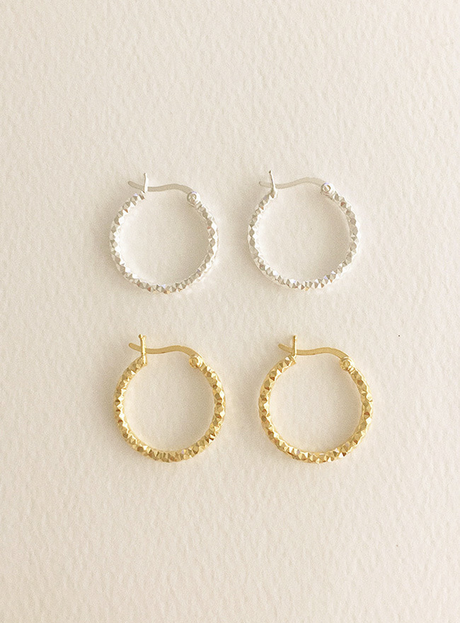 (Silver 925 & 16k Gold plating) texture ring earring (2 colors)