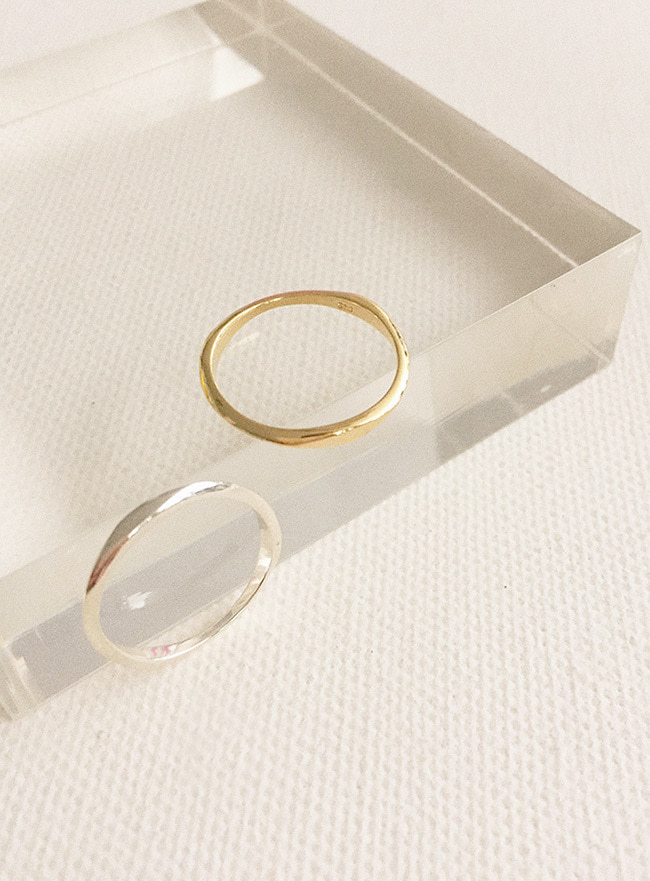 (Silver 925 & 18k Gold plating) slim flow ring (11 sizes) (2 colors)
