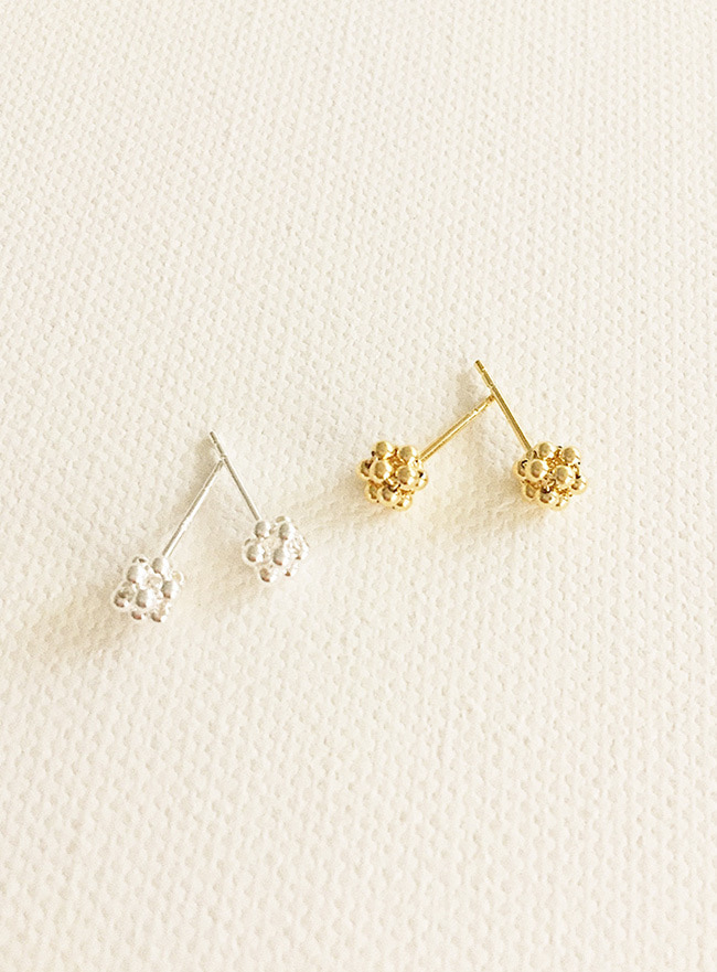 (Silver 925 & 16k Gold plating) weave ball earring (2 colors)