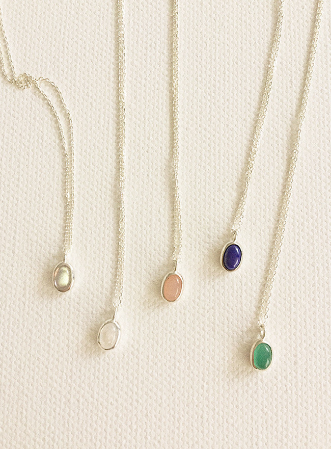 (Silver 925) gemstone necklace (원석, 5 colors)
