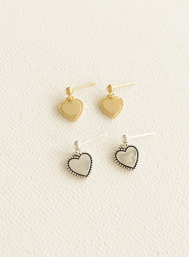 (Silver 925 & 16k Gold plating) heart stitch earring (2 colors)