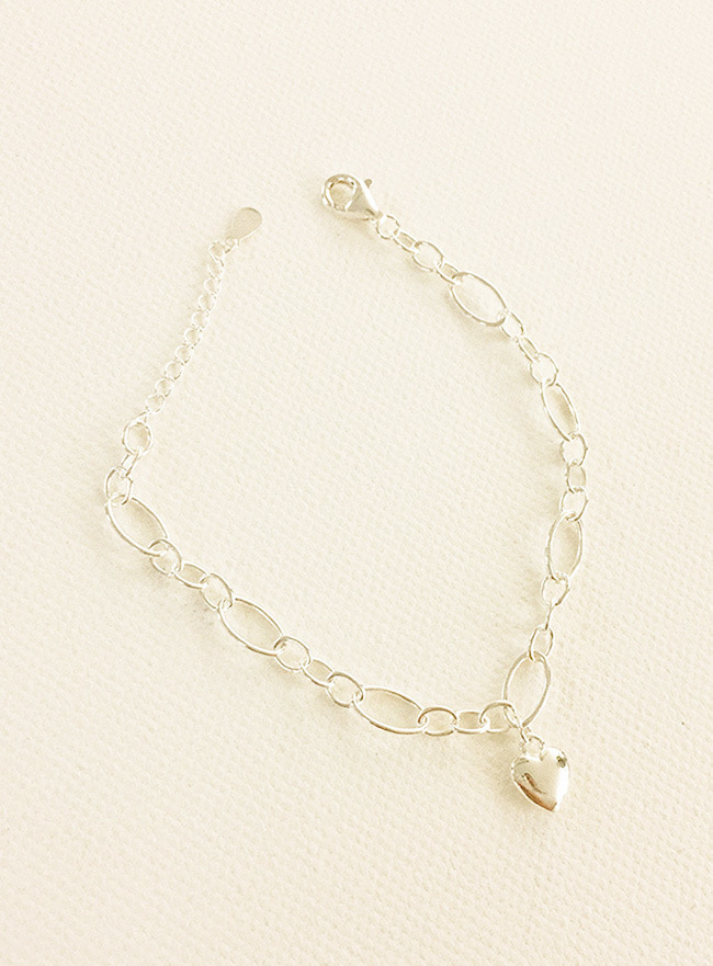 (Silver 925) bubble heart bracelet