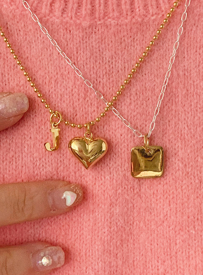 [주문제작] (Silver 925) heart initial necklace (A~Z) (2 colors)