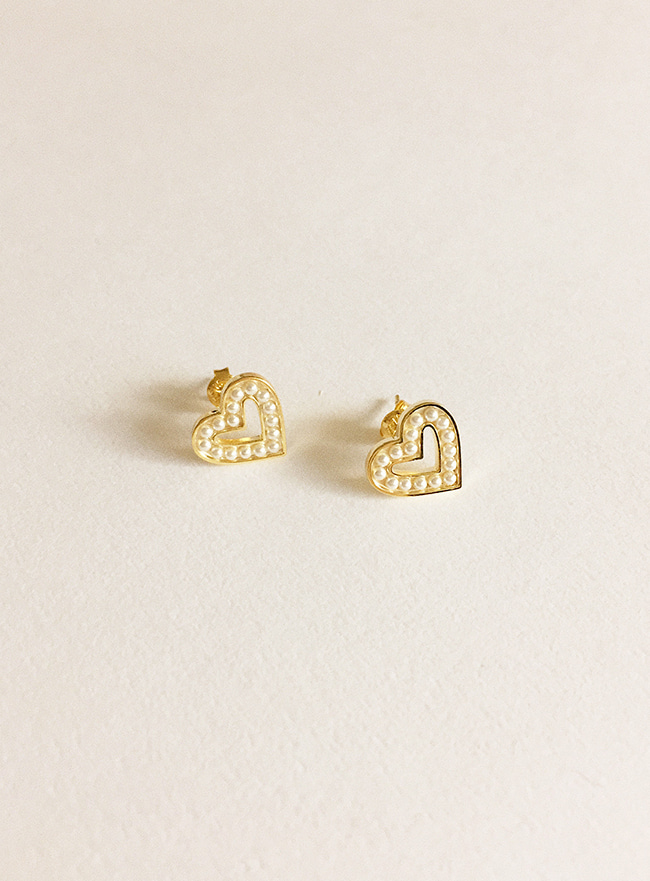 (Silver 925 + 16k Gold plating) pearly heart earring