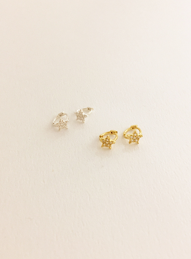 (Silver 925) mini star cubic earring (2 colors)