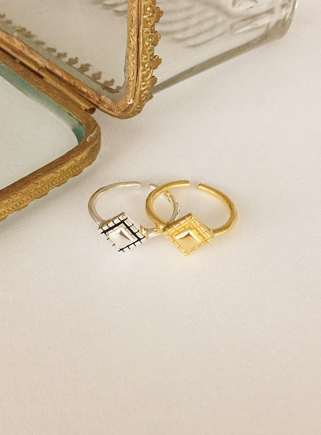 (Silver 925 & 16k Gold plating) antique diamond ring (13~15호) (2 colors)