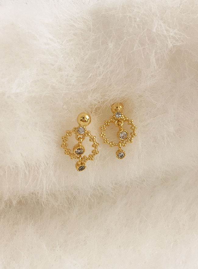 (Silver 925) lovely cubic earring (2 colors)